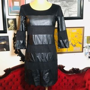 Dresses & Skirts - GB black faux leather and suede stripe dress xs